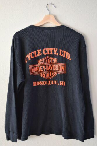 Harley Davidson Black Long Sleeve T-Shirt Honolulu Hawaii XL/Large