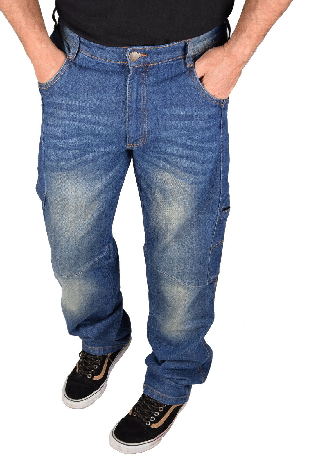 Stabile Herren Jeans Arbeitshose Bundhose Berufshose Workwear Stretch Denim Blau