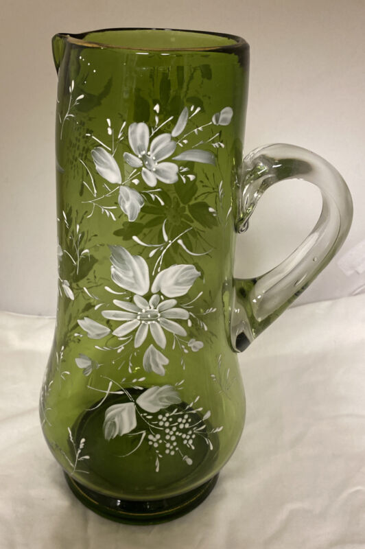 Victorian Era GREEN Floral Hand Painted Pitcher w/Pontil by Unknown