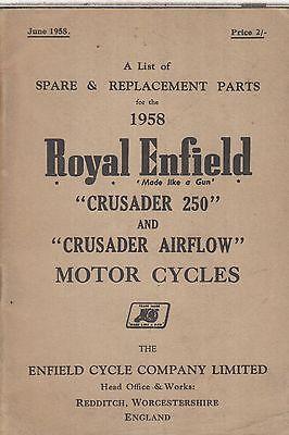 ROYAL ENFIELD 250 CRUSADER & AIRFLOW 1958 FACTORY ILLUSTRATED PARTS CATALOGUE