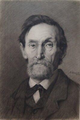 Herren Große Kohle (A. Schrack, Portrait eines älteren Herren, große Kohlezeichnung, 1883)