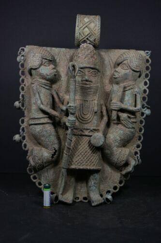 "Large 16"" African BENIN Bronze Royal Plaque, Nigeria, Benin city, TRIBAL ART"