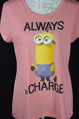Minions Despicable Me Girls XXL 19 Coral Short Sleeve Always In Charge T-Shirt