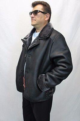 Shearling Leather Coat - Men 100% REAL SHEEPSKIN SHEARLING LEATHER Car Coat Bomber Jacket S-5XL, BLACK