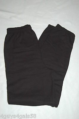 Mens Sweat Pants SOLID BLACK Elastic Ankles HANES No Pockets