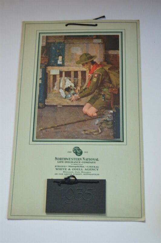 1935 Boy scouts Norman Rockwell Calendar Scout feeding dog in shipping crate