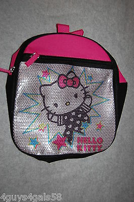 Girls HELLO KITTY BACKPACK Pink SILVER Black SEQUIN COVERED Outer Zip Pocket