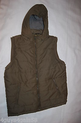 Detachable Front Pocket (Mens ARMY GREEN QUILTED INSULATED VEST Detach Hood ZIP FRONT 2 Pockets M 38-40 )