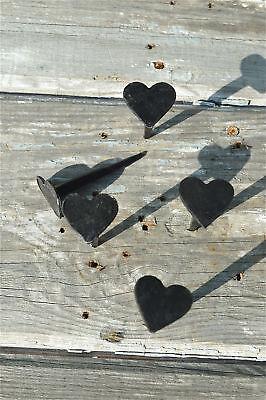 Set of 5 hand made wrought iron small Shaker heart nails coat peg barn hangers