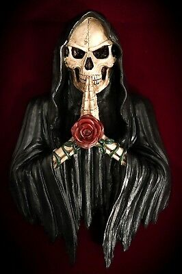 Grim Reaper Statue-Wall Hanging Mount-Holy Death Skeleton Skulls Praying-Gothic