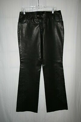 HARLEY DAVIDSON Black Motorcycle Biker Women's Embroidered Leather Pants NWOT 10