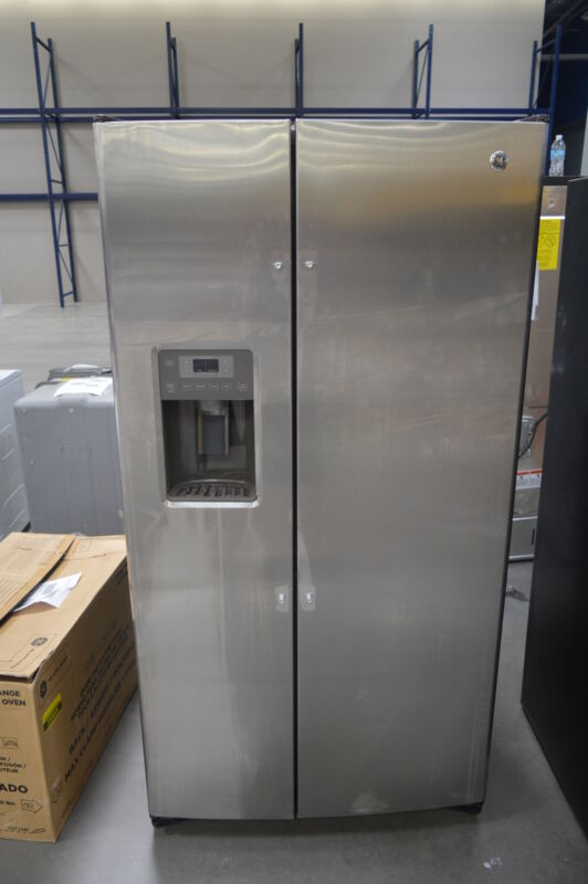 GE 25.4 Cu. Ft. Frost-Free Side-by-Side Refrigerator with Thru-the-Door Ice and Water Stainless Steel GSS25GSHSS