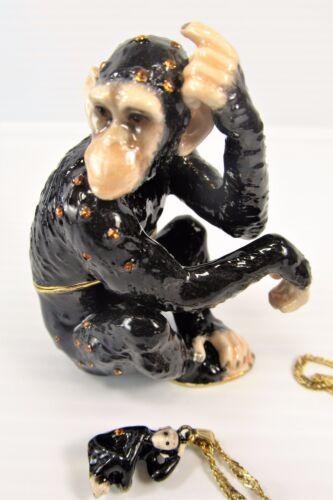 Chimpanzee Jeweled Pewter Trinket Box w/necklace Wildlfie decor
