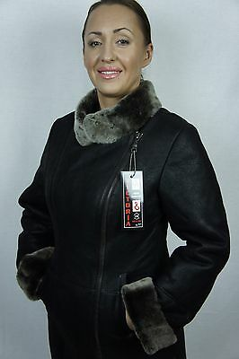 Shearling Leather Coat - BROWN 100% REAL GENUINE SHEEPSKIN SHEARLING LEATHER COAT JACKET, XS-6X