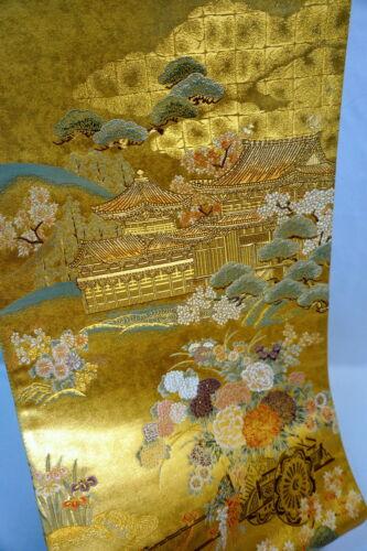 """Japanese Kimono SILK Fukuro OBI, Rokutu ,Gold 100%,Temple, Rowel,L176""""..1090"""