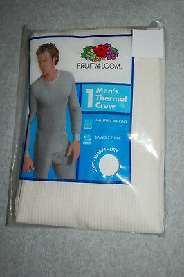 - Mens Long Underwear OFF WHITE THERMAL CREW L/S SHIRT TOP Knit Longjohns M 38-40