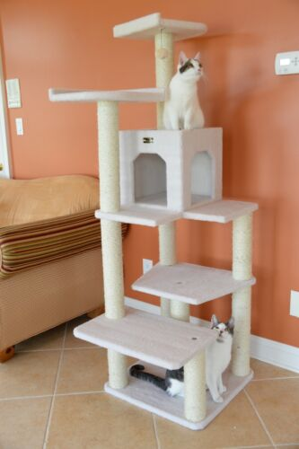 68-in Cat Tree & Condo Scratching Post Tower Ivory Wide Base 10 Scratching Posts