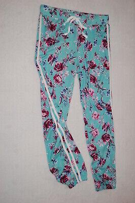 - Womens Pants AQUA TEAL JOGGERS Soft Knit PINK BURGUNDY FLOWERS Size L 12-14