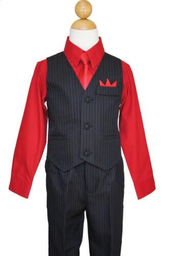 Pinstripe Boys Christmas, Recital, Vest Suit Set, Red/Black,Size: 6,10