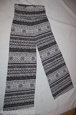 Womens SLINKY GAUCHO DRESS PANTS Full Lgth BLACK WHITE TRIBAL Fold Top M 8-10