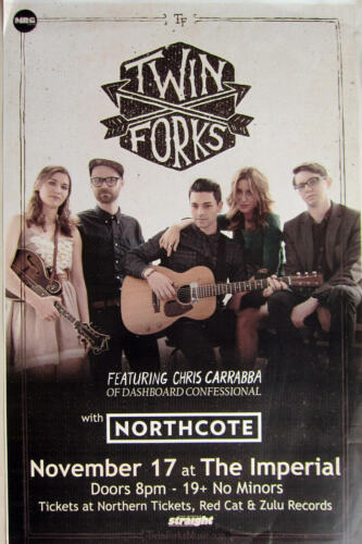 TWIN FORKS /CHRIS CARRBBA/NORTHCOTE 2015 VANCOUVER CONCERT TOUR POSTER-Folk Rock