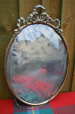 ANTIQUE LARGE PRETTY GILT BRASS OVAL PICTURE FRAME WITH RIBBON & BOW DECOARTION