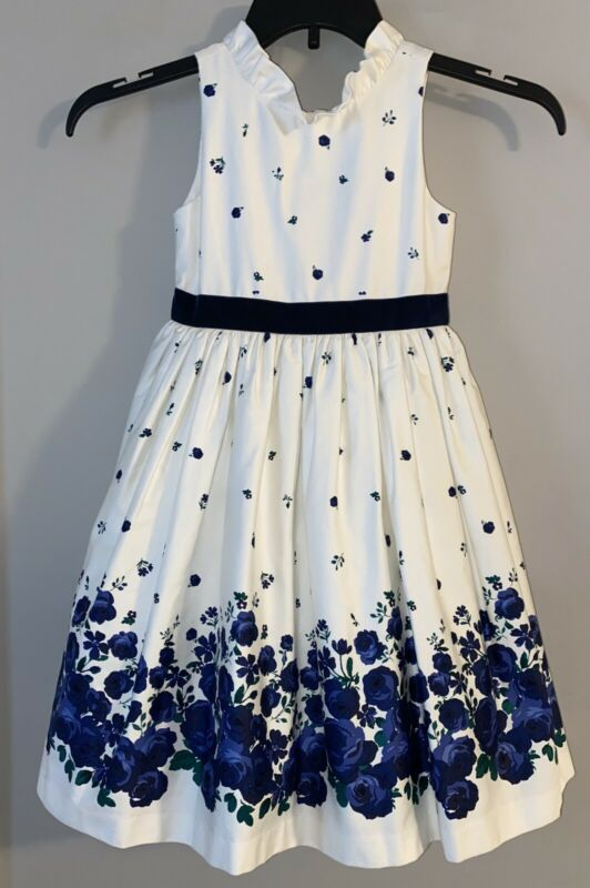 Janie Jack Dress 6 White Blue Floral Falling Roses Ruffle Easter Wedding NWT