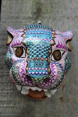 #3 Alebrijes Jaguar Head Hand Carved & Painted Wood Oaxaca Mexico Folk Art