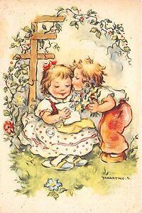 Cartolina-Postcard-Illustrata-Tarantino-Bambini-lettera-bacio-fiori