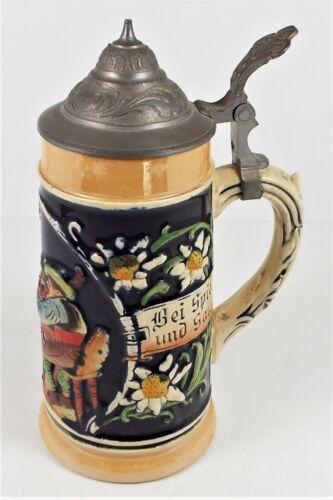 """Vintage German Lidded Beer Stein 0.25L - 6 1/2"""" Tall - 3"""" Wide Scene 3 People #6"""