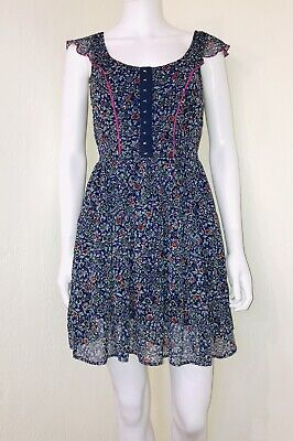 Band Of Gypsies Anthropologie Blue Floral Boho Faux Corset Fit Flare Dress Sz - Gypsy Corset Dress