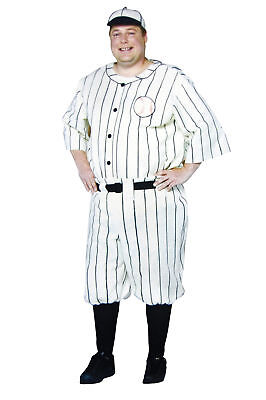 Old Tyme Baseball Player Adult Plus Size Mens Costume Babe Ruth Sports Halloween - Mens Baseball Halloween Costumes