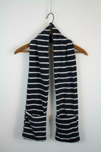 GAP Kids Blue White Striped Fleece Scarf Hand Pockets New