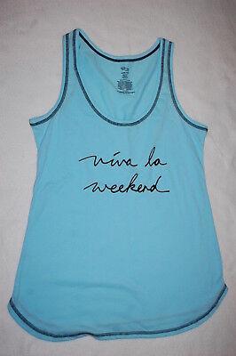 Womens Pajama Shirt RACERBACK TANK TOP Turquoise VIVA LA WEEKEND Size 3X 22W-24W