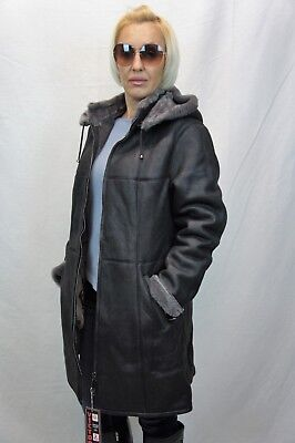 Shearling Leather Coat - BLACK 100% SHEEPSKIN SHEARLING LEATHER Lambskin Coat Jacket removable Hood XS-7X