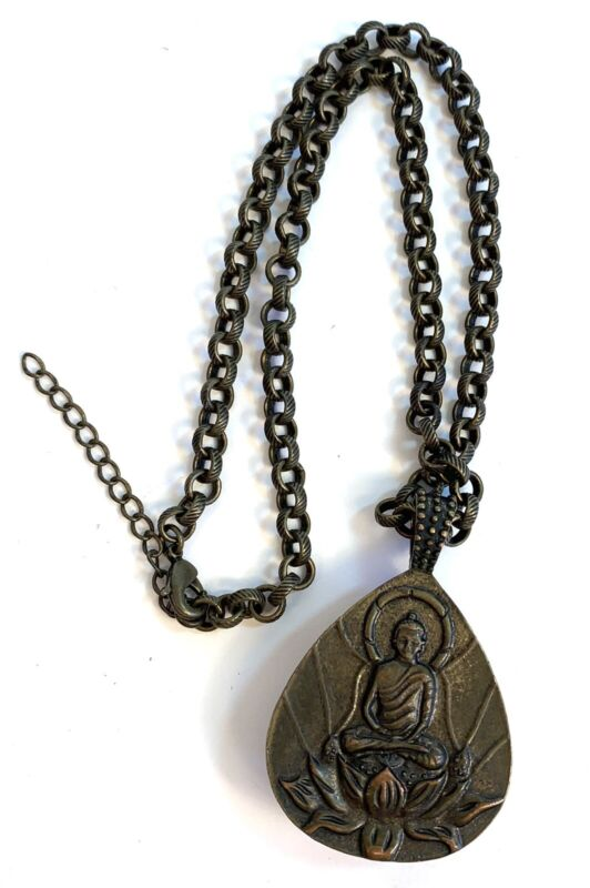 Reversible Necklace Amulet/buddha Pendant Smooth Amber PlasticW/ Chain Link MBN3