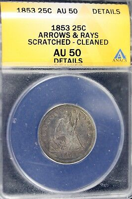 1853 - ANACS AU50 DETAILS Liberty Seated Quarter!!  #B12234