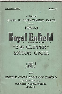 ROYAL ENFIELD 250 CLIPPER 1959-60 ORIGINAL FACTORY ILLUSTRATED PARTS CATALOGUE