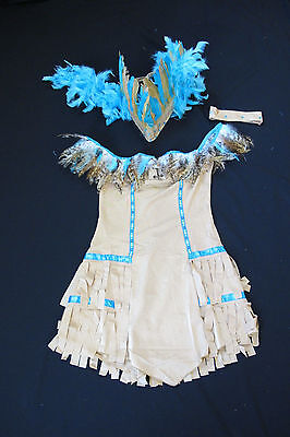 Indian Girl Halloween Costume Native American Pocahontas Feather Headdress NEW  - Halloween Pocahontas Costume