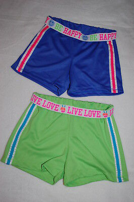 Girls 2 PR LOT ATHLETIC SHORTS Fold Top BLUE & GREEN Live Love Be Happy L 10- 12 (Be Girl Clothing)