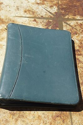 Green Franklin Quest Covey Planner Full Garinleather 1.5 7-ring Zipper Strap