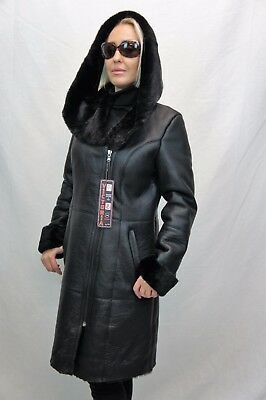 Shearling Leather Coat - NEW 2018 Black 100% GENUINE SHEEPSKIN Shearling Leather long Coat Hood XS - 6XL