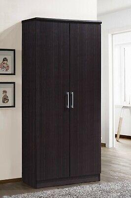 Bedroom Armoire 2-Door Wardrobe Storage 4-Shelves Adjustable Cabinet Hanging Bar 2 Door Wardrobe Cabinet