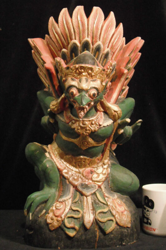 "Traditional Balinese Wood Carving of Garuda Very Large 18.5"" (47 cm) Rare 1900"