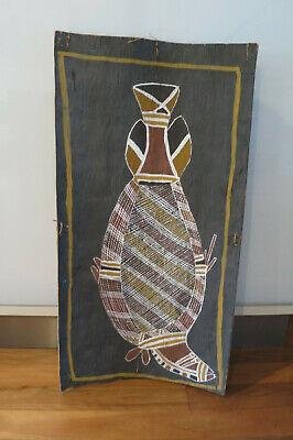 Aboriginal Bark painting Barramundi by Dooley Wengalawi - 1985 -