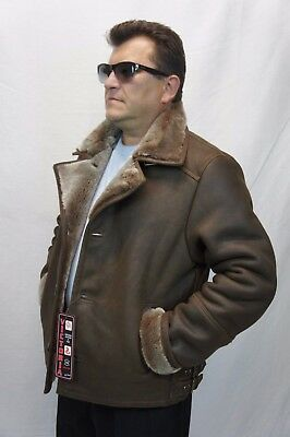 Men 100% REAL SHEEPSKIN SHEARLING LEATHER Car Coat Bomber Jacket S-5XL, TAUPE