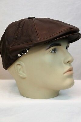 WHISKEY 100% LEATHER Men Gatsby Cap Newsboy Ivy Hat Golf Driving Flat NWT S-3XL