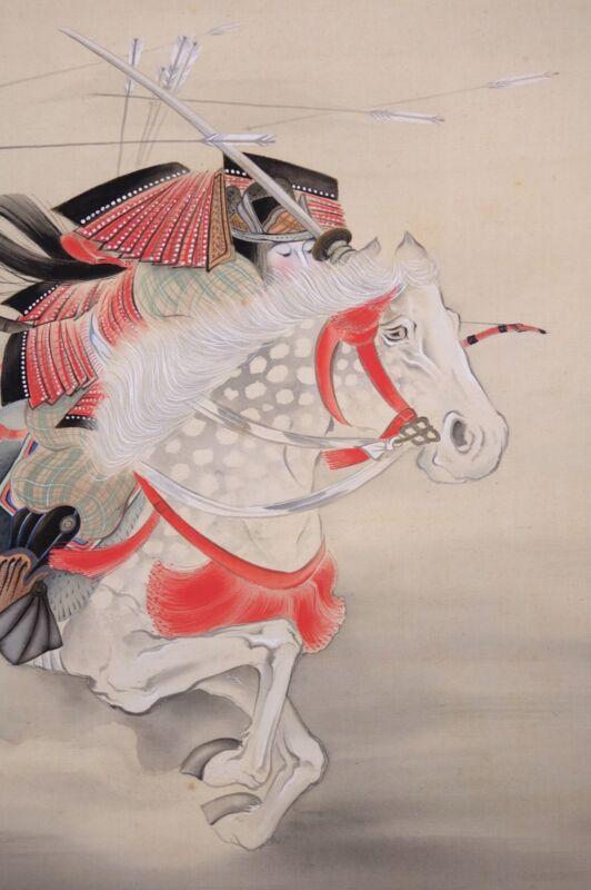 HANGING SCROLL JAPANESE PAINTING JAPAN SAMURAI BUSHI ANTIQUE HORSE ART e408