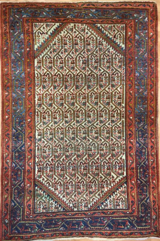 Special Seraband - 1920s Antique Persian Rug - Tribal Paisley Carpet 3.5 X 5.1