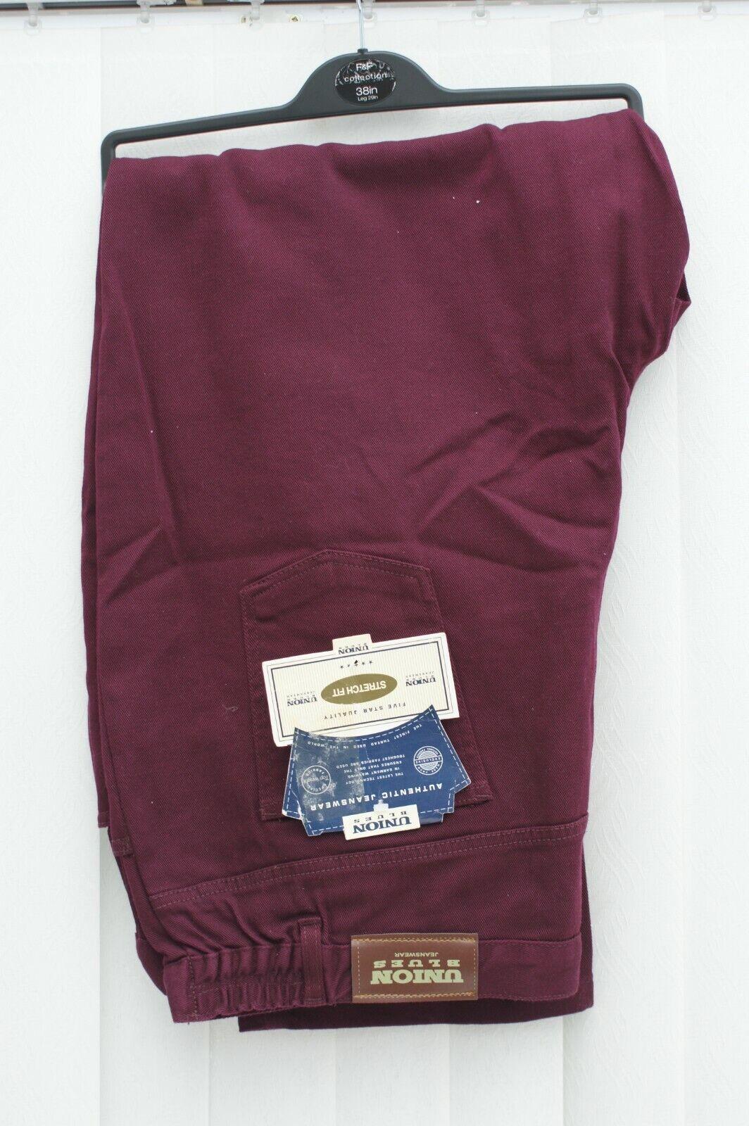 Union Blues Jeanswear Burgundy Jeans Trousers Size 28 BNWT